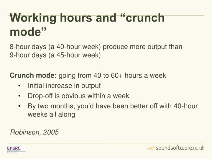 "Working hours and ""crunch mode"""