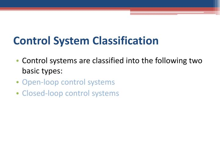 Control System Classification