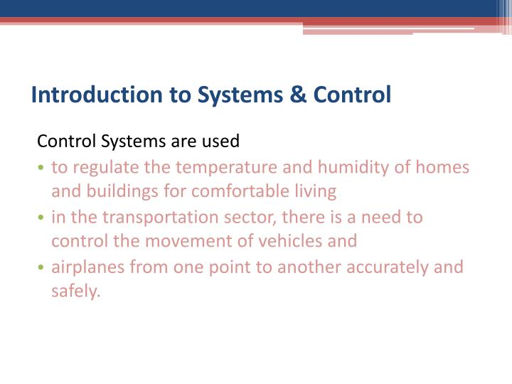 Introduction to Systems & Control