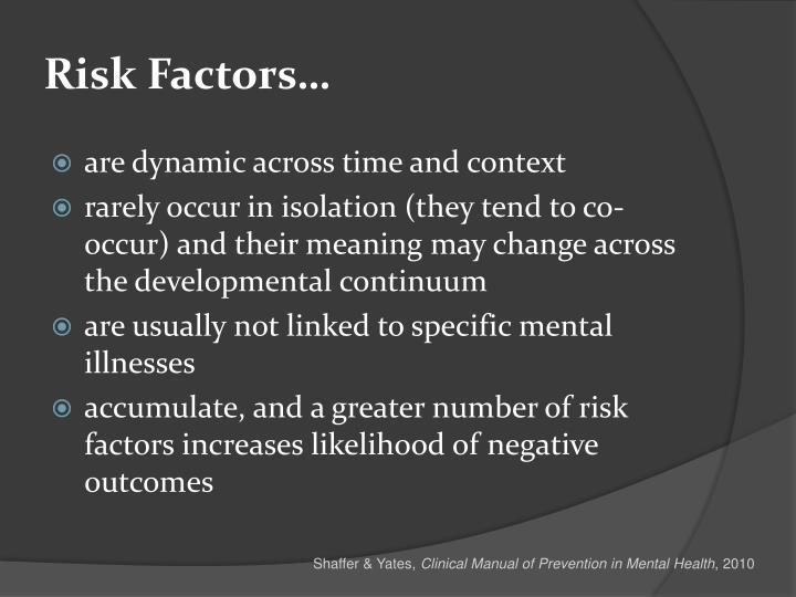 Risk Factors…
