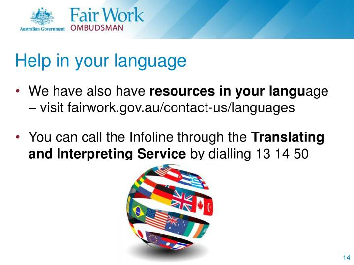 Help in your language