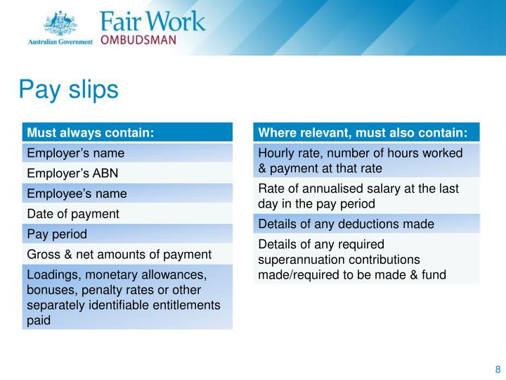 Pay slips