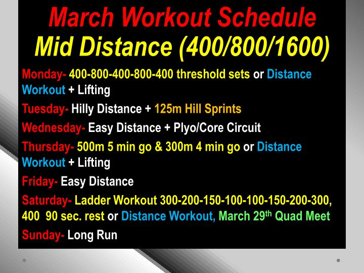 March Workout Schedule