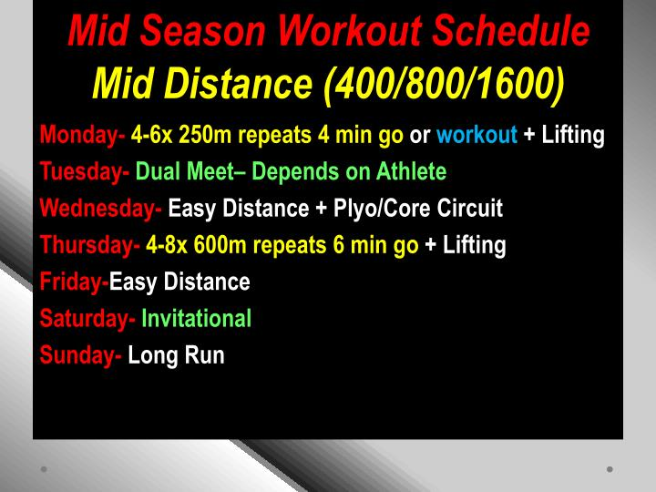 Mid Season Workout Schedule