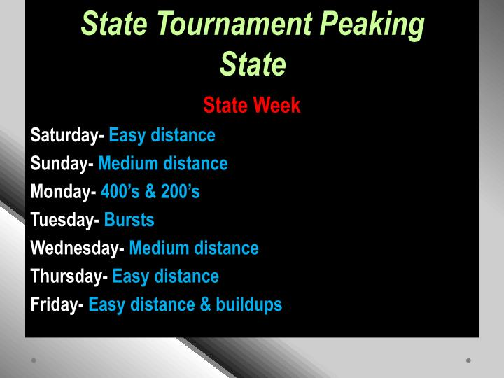 State Tournament Peaking
