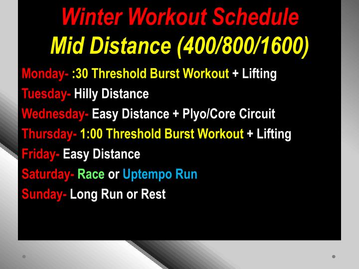 Winter Workout Schedule
