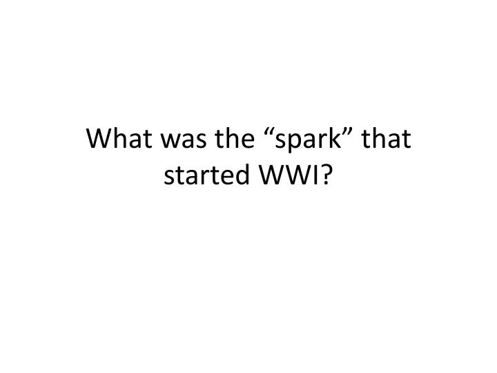 "What was the ""spark"" that started WWI?"
