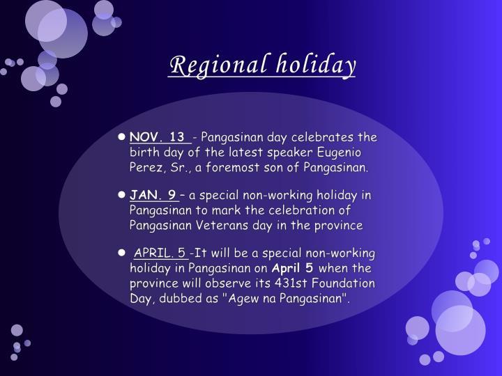 Regional holiday