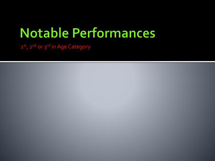 Notable Performances