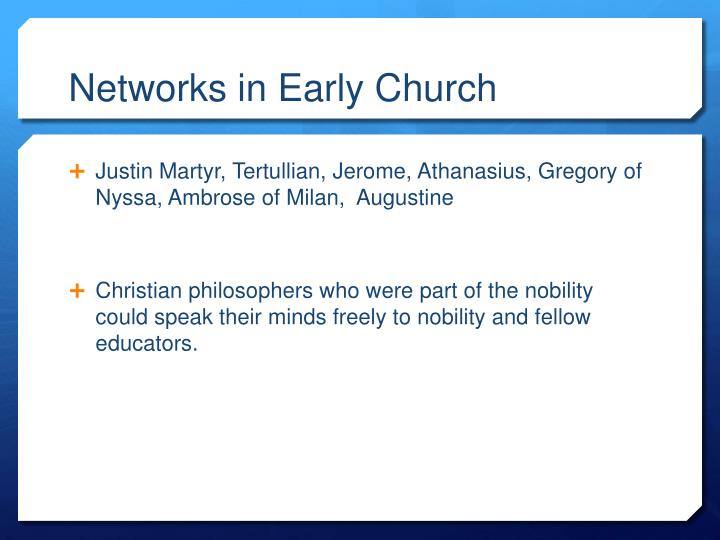 Networks in Early Church