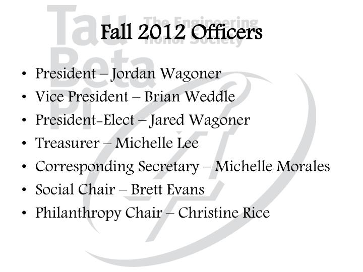 Fall 2012 Officers