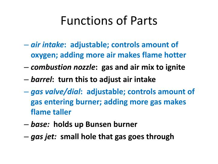 Functions of Parts