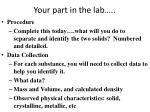 your part in the lab