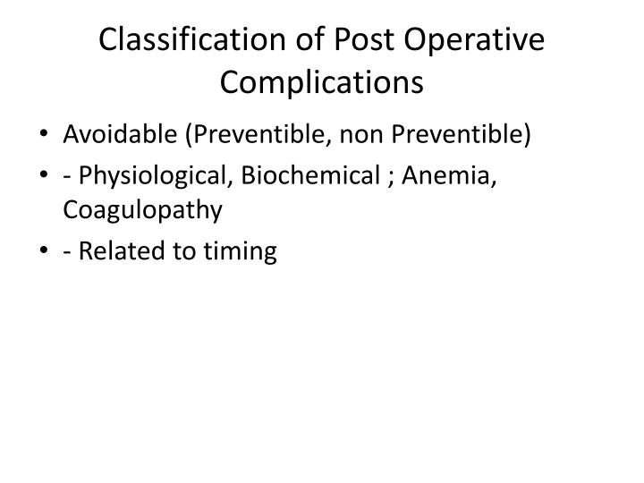 Classification of Post Operative Complications