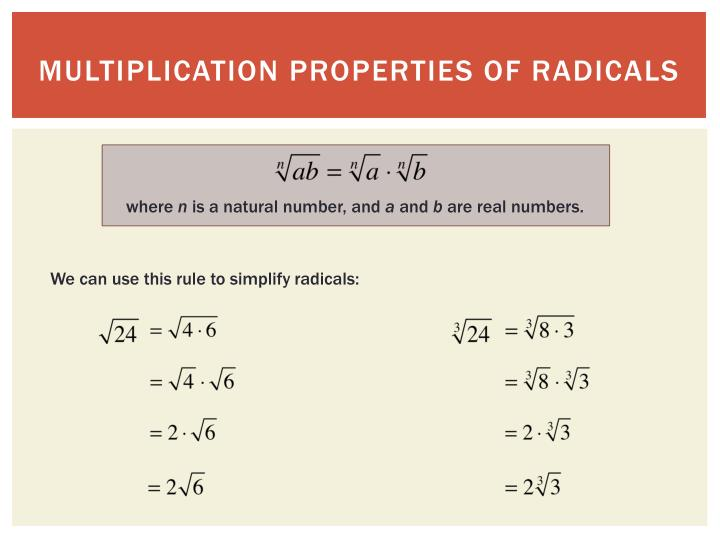 Multiplication properties of radicals
