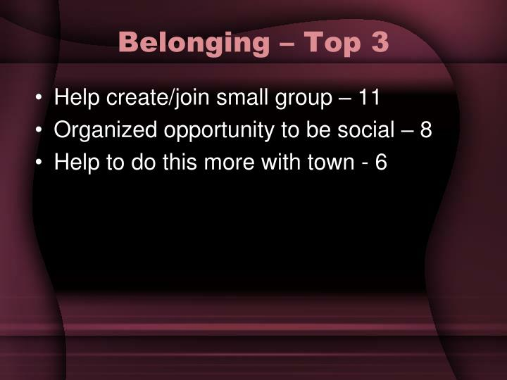 Belonging – Top 3