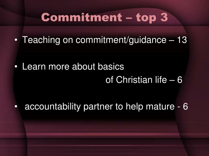 Commitment – top 3