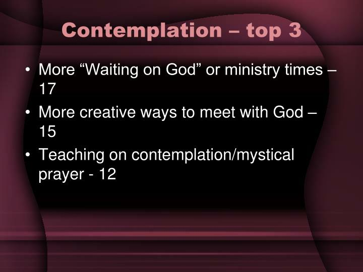 Contemplation – top 3