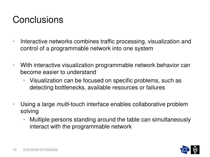Interactive networks combines traffic processing, visualization and control of a programmable network into one system