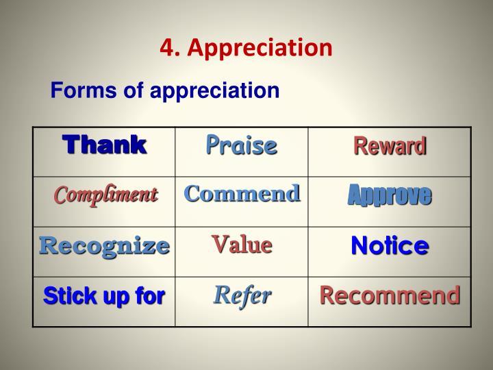 4. Appreciation