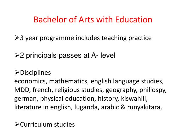 Bachelor of Arts with Education