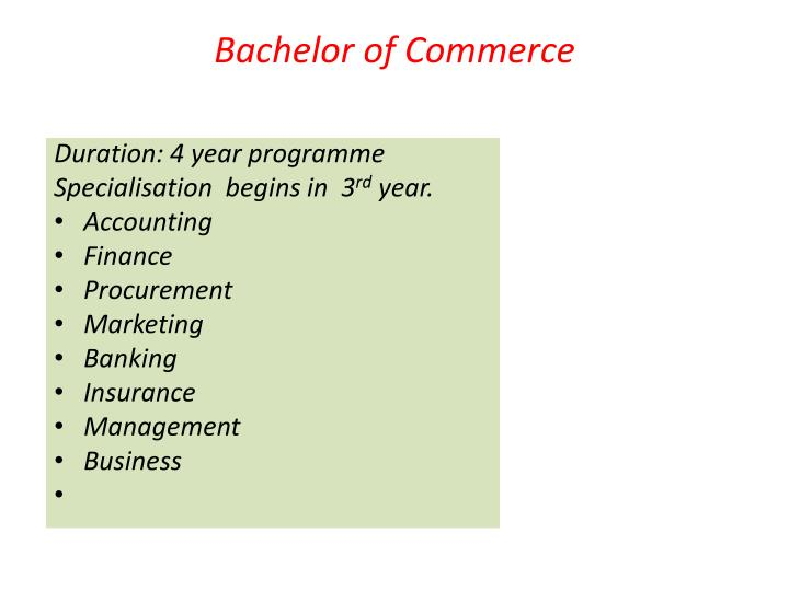 Bachelor of Commerce