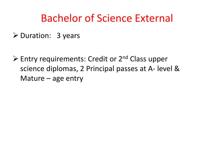 Bachelor of Science External
