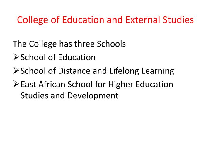 College of Education and Externa