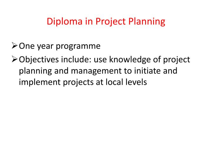 Diploma in Project Planning