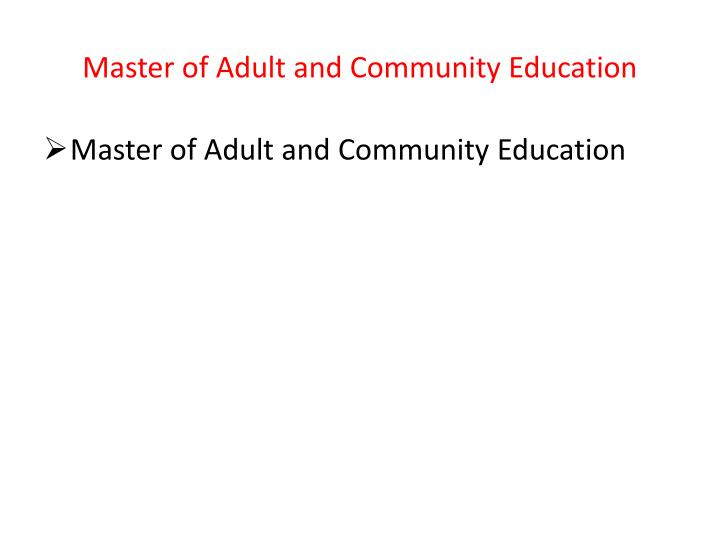 Master of Adult and Community Education