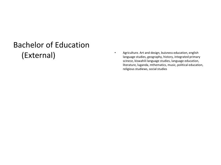 Bachelor of Education (External)