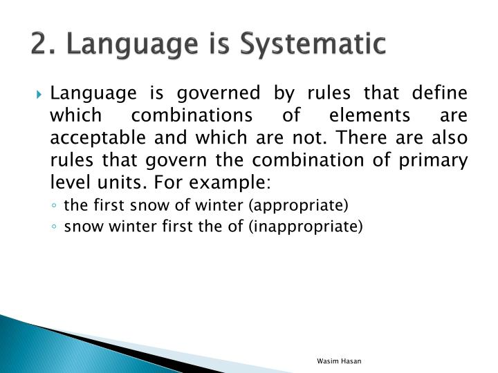 2. Language is Systematic