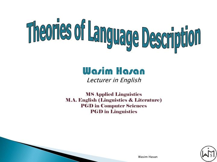 Theories of Language Description