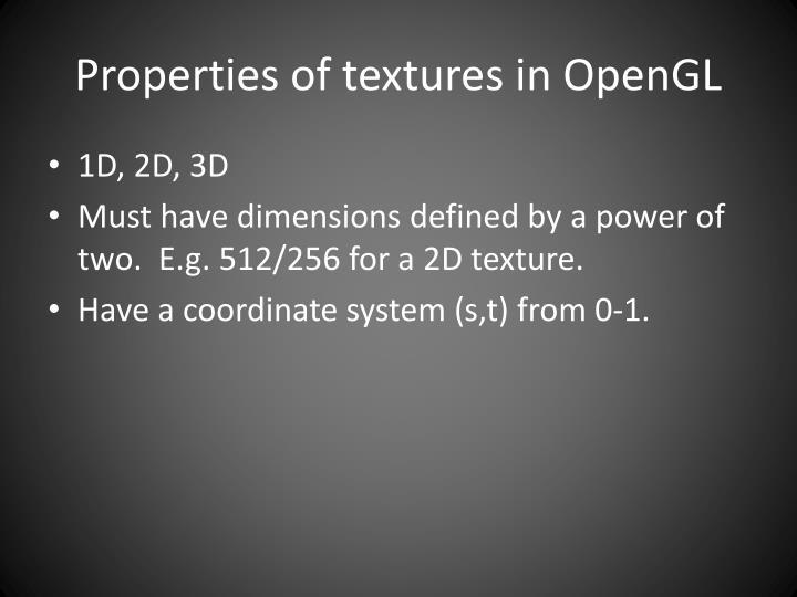 Properties of textures in OpenGL