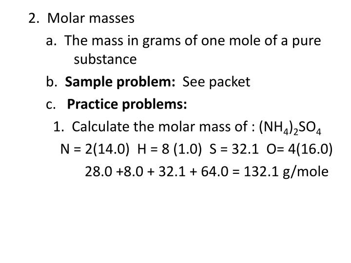 2.  Molar masses