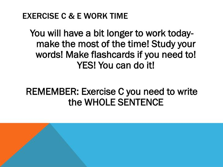 Exercise c & E work time