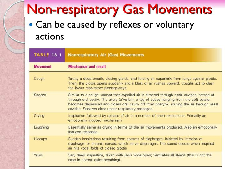 Non-respiratory Gas Movements