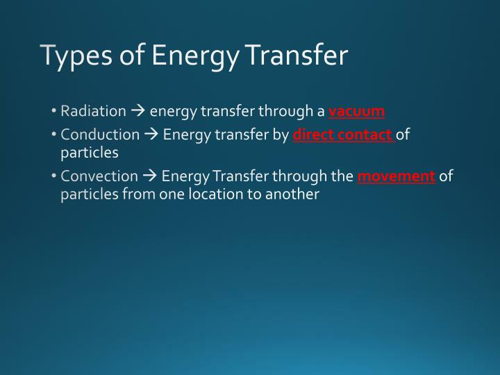 Types of energy transfer