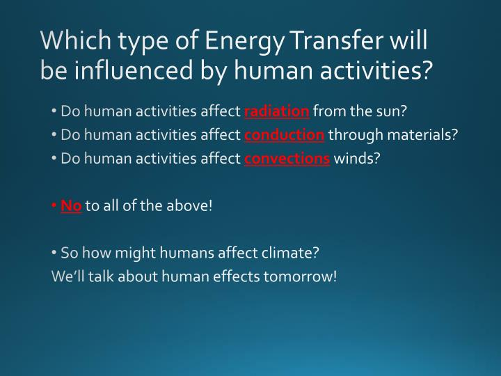 Which type of Energy Transfer will be influenced by human activities