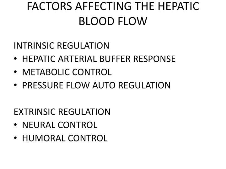 FACTORS AFFECTING THE HEPATIC BLOOD FLOW