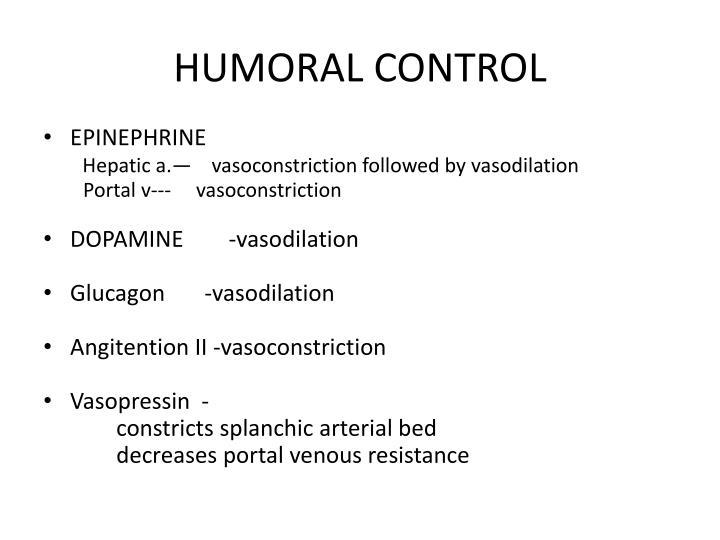 HUMORAL CONTROL