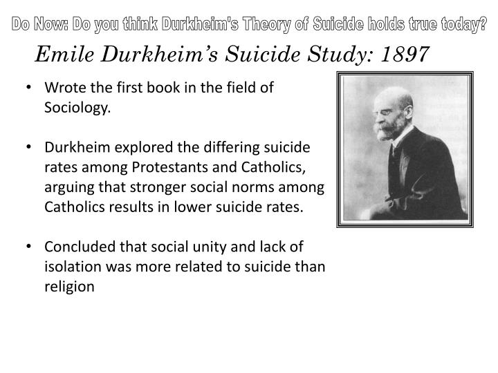 emile durkheims 1897 analysis of suicide In 1897 the scholar emile durkheim wrote suicide one of the first examples of rigorous sociology it used the suicide rates in europe to illustrate the importance of community ties to behavior.