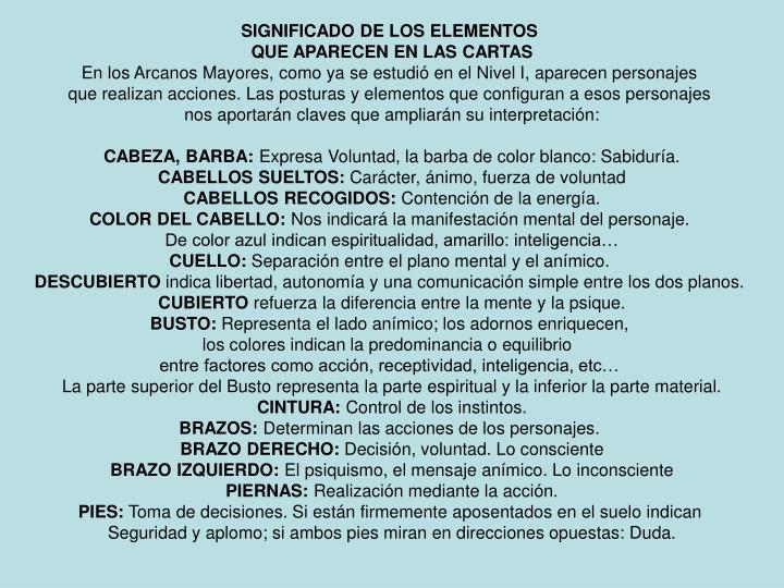 SIGNIFICADO DE LOS ELEMENTOS