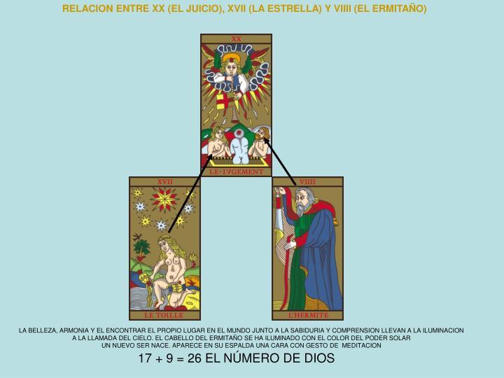 RELACION ENTRE XX (EL JUICIO), XVII (LA ESTRELLA) Y VIIII (EL ERMITAÑO)