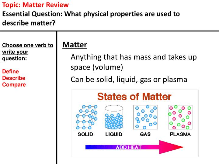 Topic: Matter Review