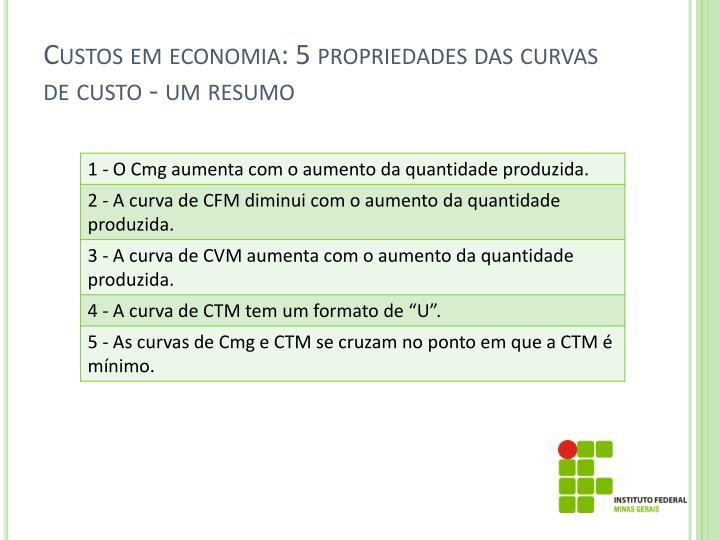 Custos em economia: 5 propriedades das curvas de custo - um resumo
