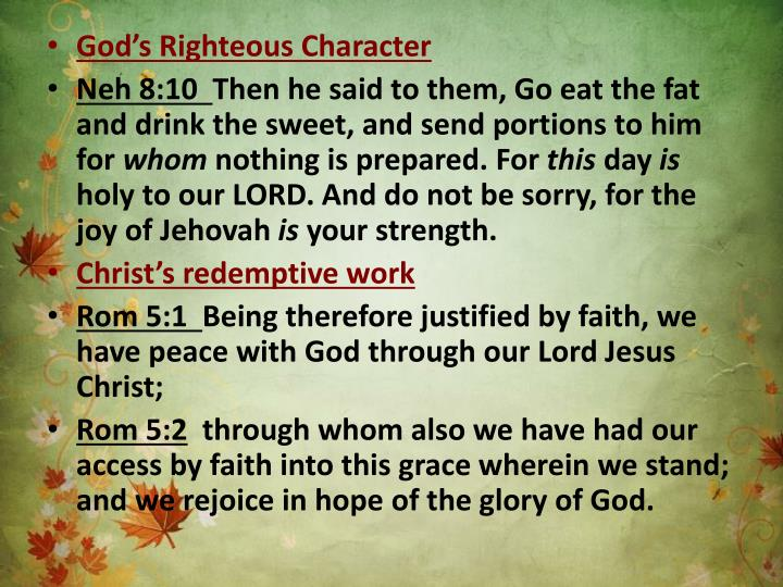 God's Righteous Character