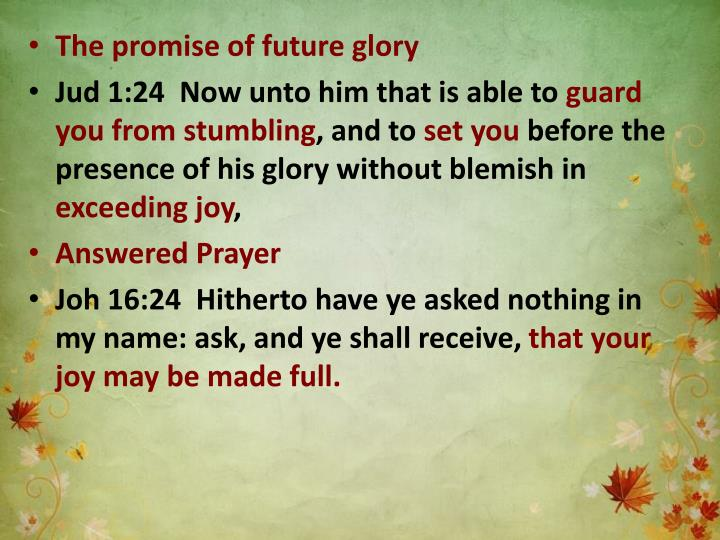 The promise of future glory