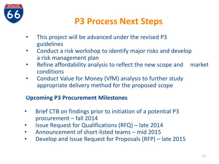 P3 Process Next Steps