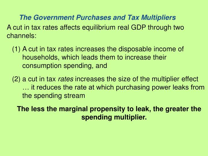 The Government Purchases and Tax Multipliers